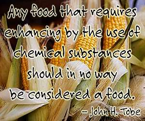 """Any food that requires enhancing by the use of chemical substances should in no way be considered a food."" ~ John H. Tobe"